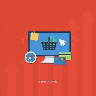 Online Shopping Flat Elements