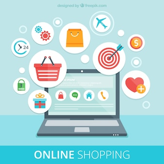 Online shopping icons and laptop