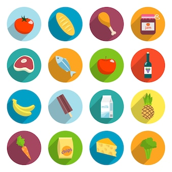 Online supermarket foods flat icons set of meat fish fruits and vegetables isolated vector illustration