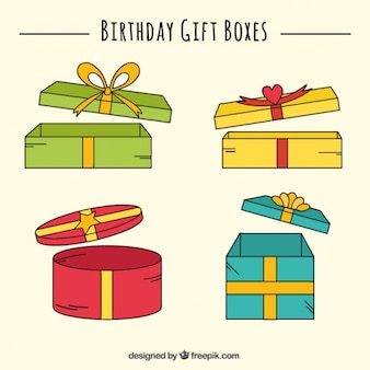 Open birthday gift boxes