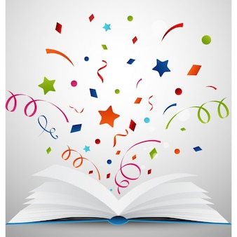 Open book with confetti background