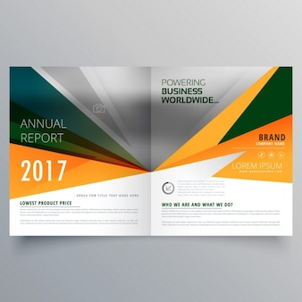Open brochure with geometric shapes