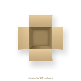 Open cardboard box in top view