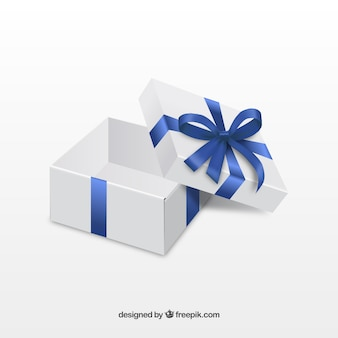 Open Giftbox with Blue Ribbon
