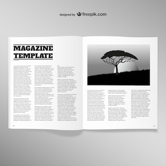 Opened magazine blank page template