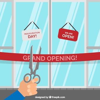 Opening ceremony with shop door