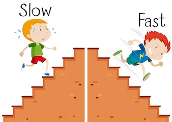 Opposite words slow and fast