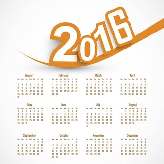 Orange 2016 calendar