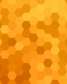 Orange abstract hexagonal honey comb background