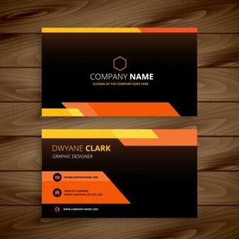 Orange and black business card
