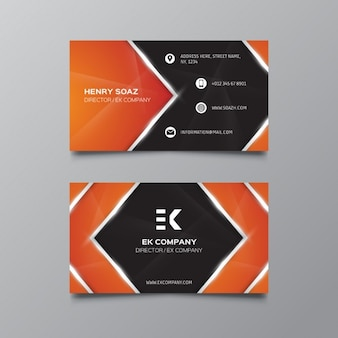 Orange and black business card