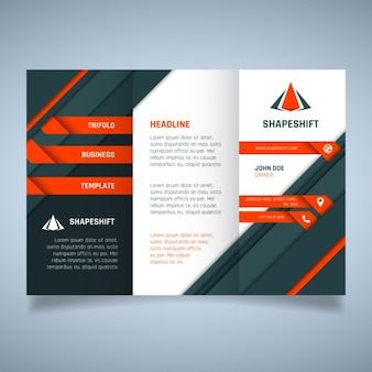 Orange and black geometric business brochure template