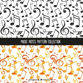 Orange and black music note pattern collection