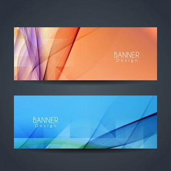 Orange and blue banners with wavy shapes
