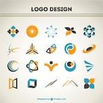 Orange and blue logos set