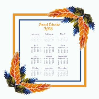 Orange and blue Water Color feather frame calendar 2018