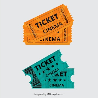 Orange and green vintage movie tickets