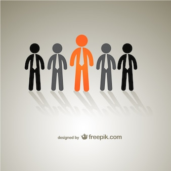 Orange and grey businessmen silhouettes