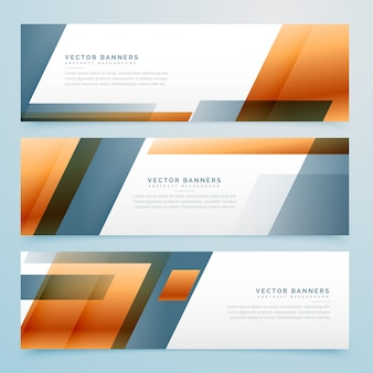 Orange and grey geometric banners