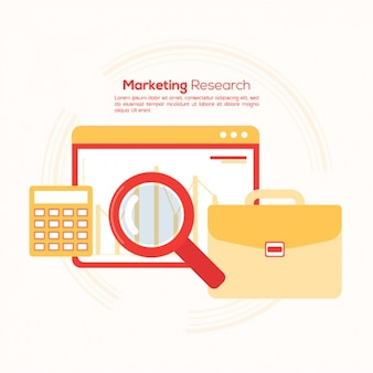 Orange and red background about marketing research