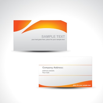 Orange and white business card template