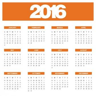 Orange Annual Calendar 2016