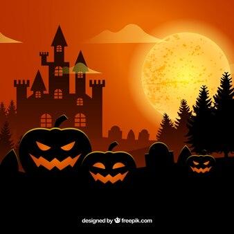 Orange background of pumpkins and castle