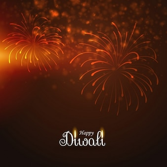 Orange background with fireworks for diwali