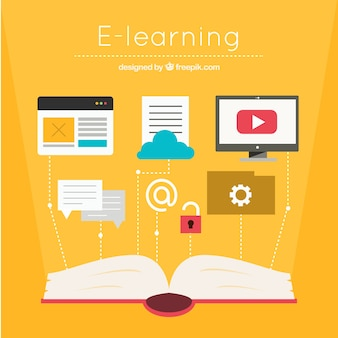 Orange background with open book and online learning elements