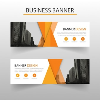Orange banner with geometric shapes