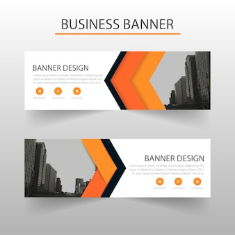 Orange banners template, geometric style
