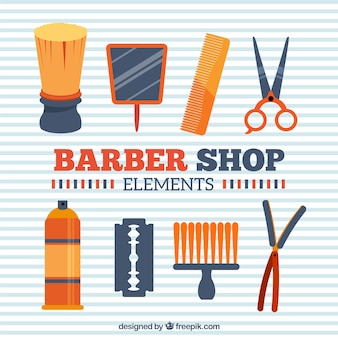Orange barber shop elements