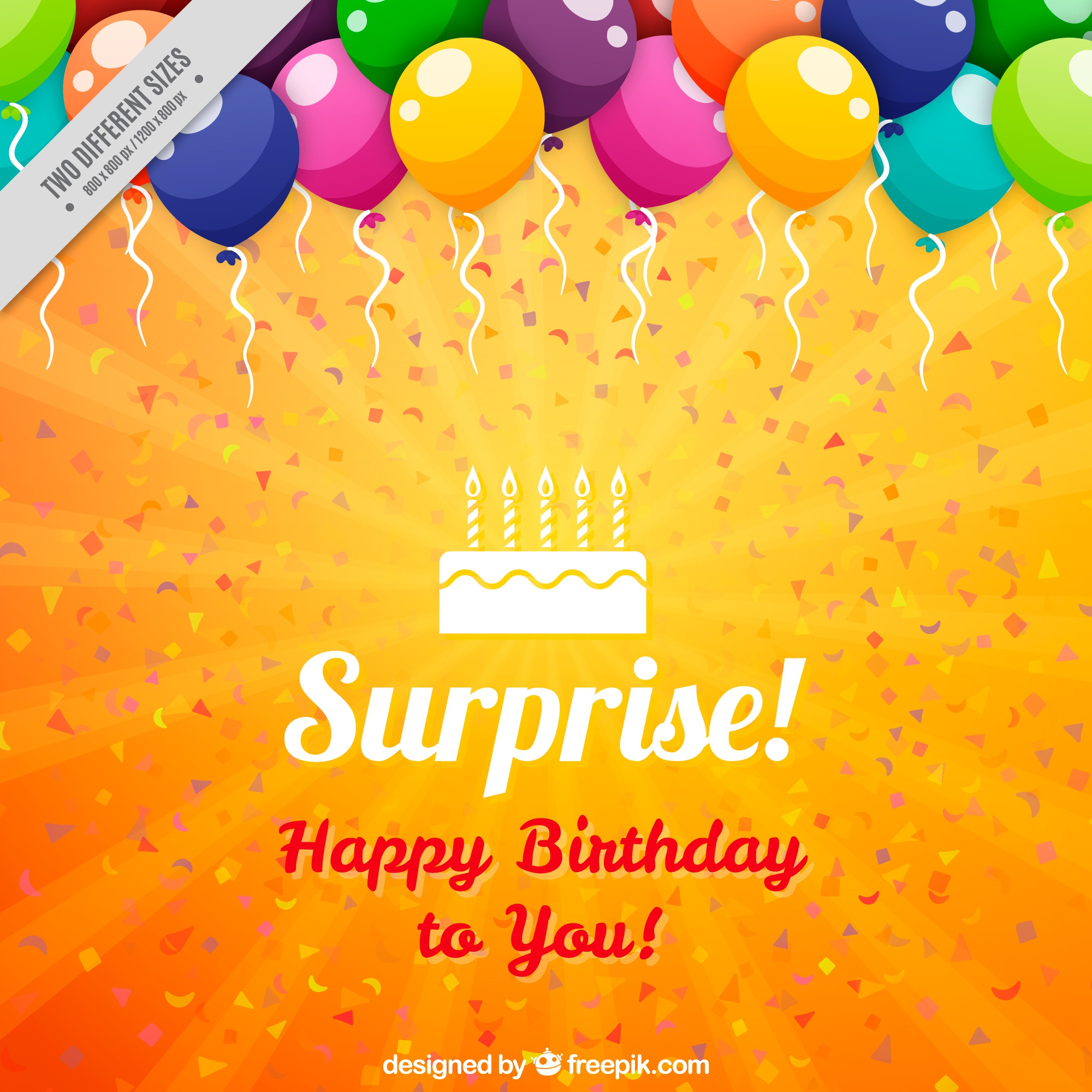 Orange birthday background with colorful balloons