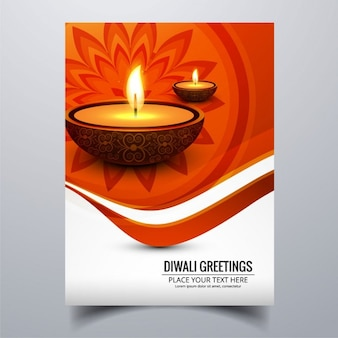 Orange brochure for diwali with two candles
