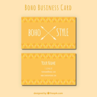 Orange business card in boho style