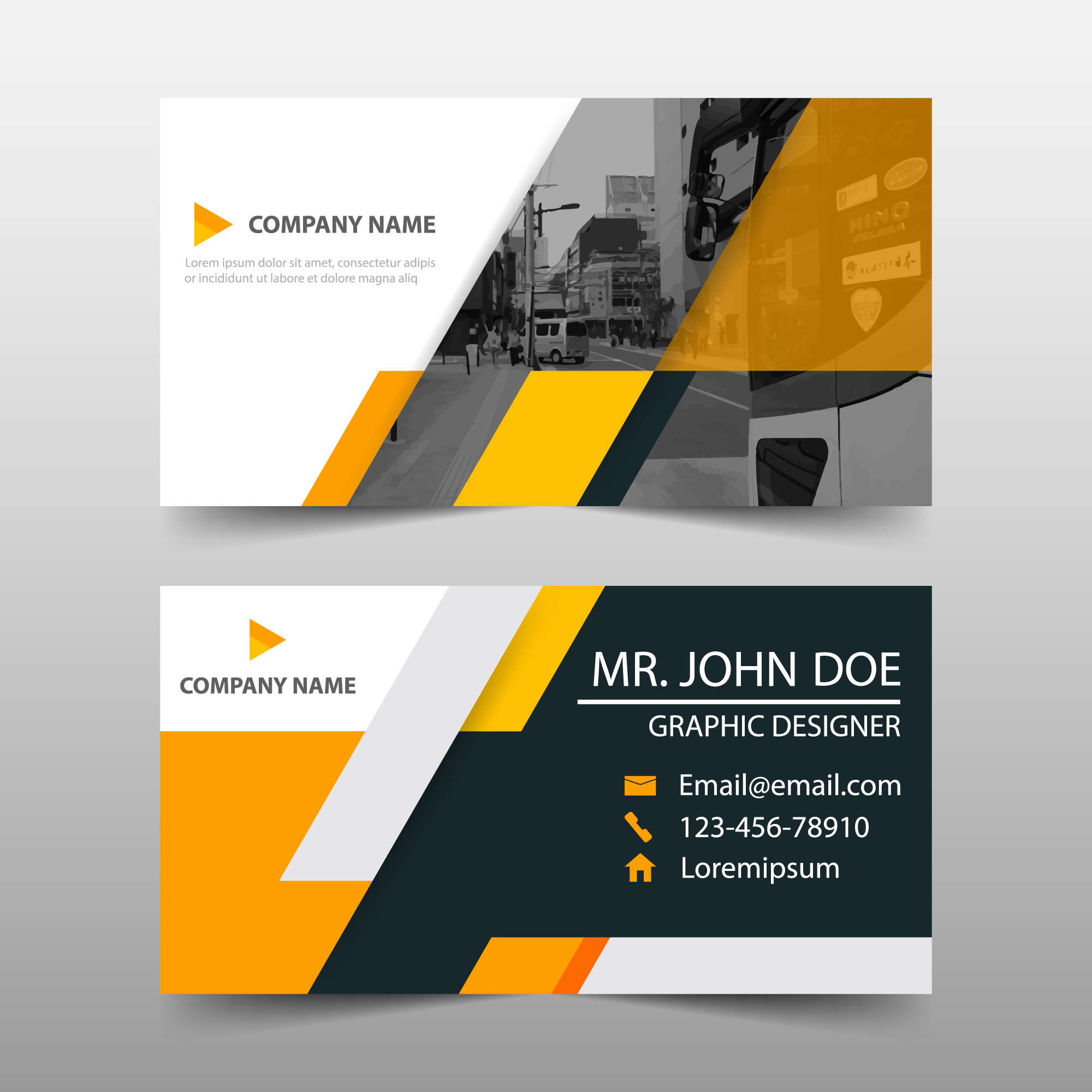 Orange business card template design