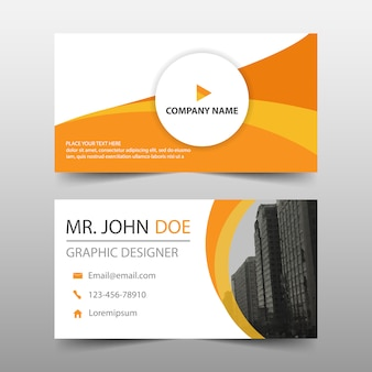 Orange business card with modern shapes