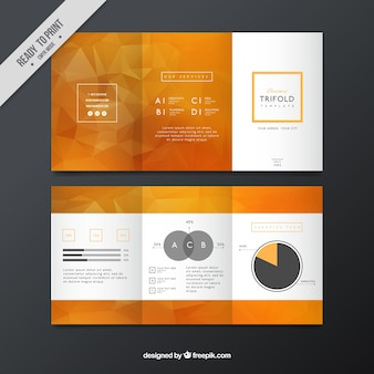 Orange business leaflet with geometric shapes
