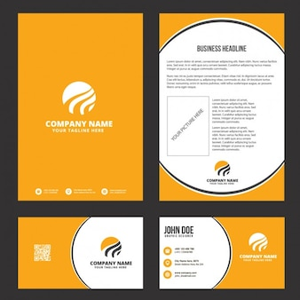 Orange business stationery design