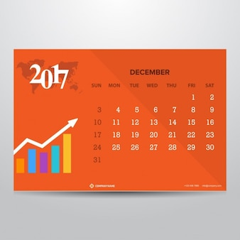 Orange calendar for december 2017