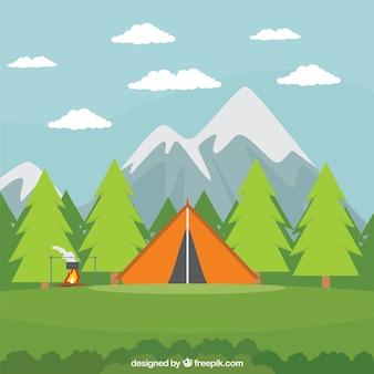 Orange camping tent in a beautiful landscape