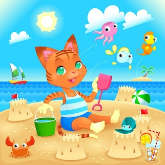 Orange cat on the beach