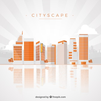 Orange cityscape background in modern style