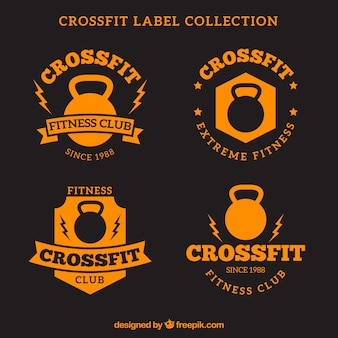 Orange crossfit label collection