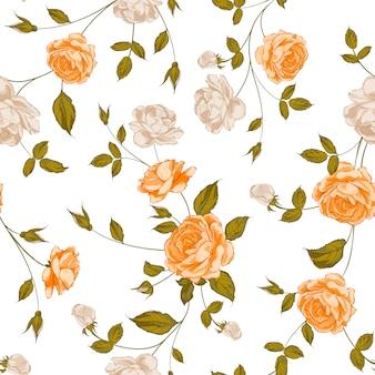 Orange flowers pattern background