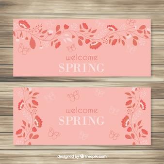 Orange flowers spring banners