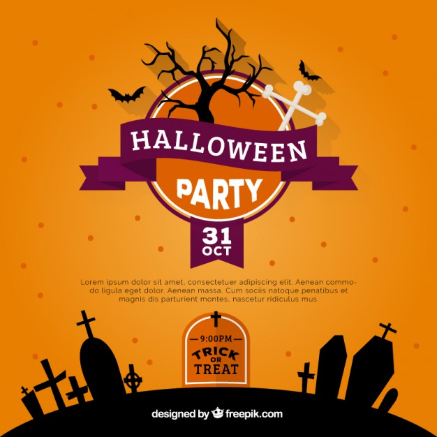 Orange halloween party invitation