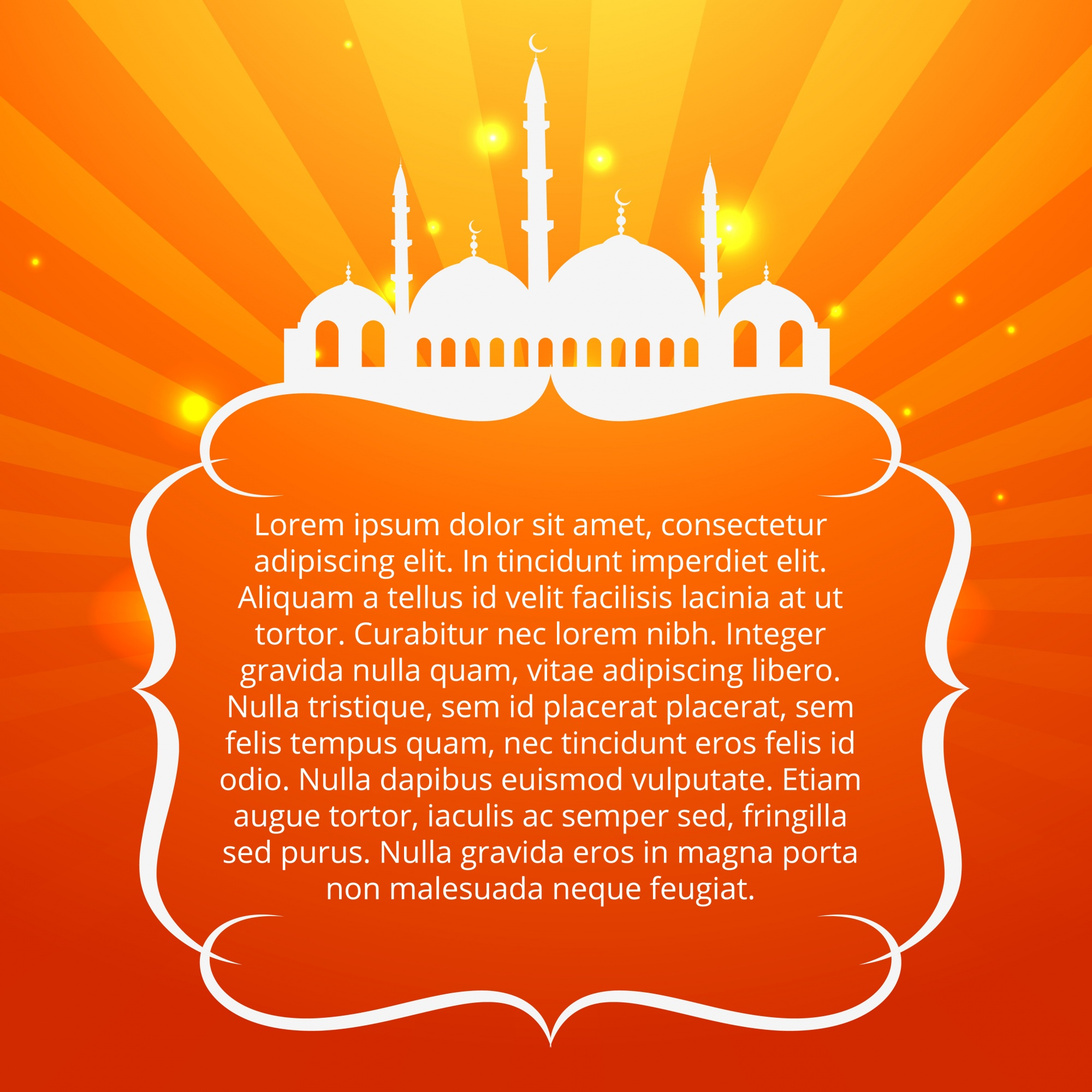Orange islamic design with space for text