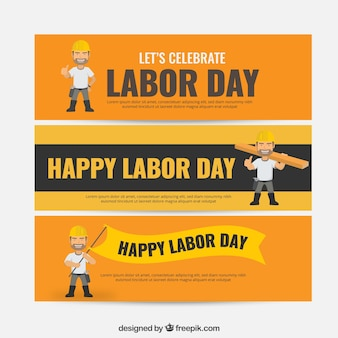 Orange labor day banners collection
