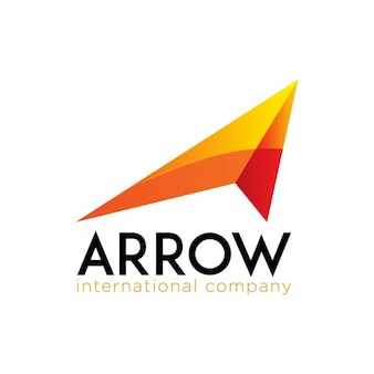 Orange logo in arrow shape